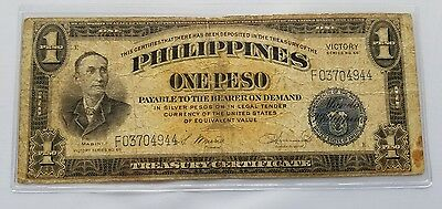 Series 66 Philippines 1 Peso Victory Note Treasury Certificate Circulated