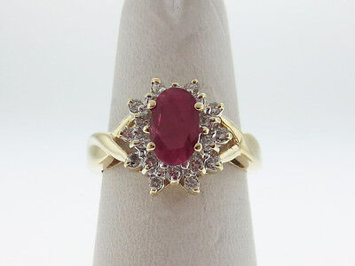 Estate Natural Red Ruby Diamonds HALO Solid 14K Yellow Gold Ring FREE Sizing