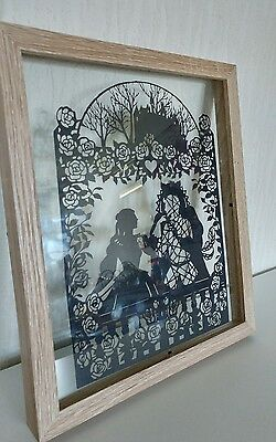 Beauty and the beast paper cut scene in 11x9 frame