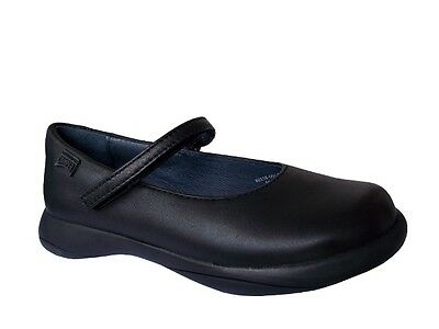 Camper Spiral Black and Patent Leather Girls School Shoe