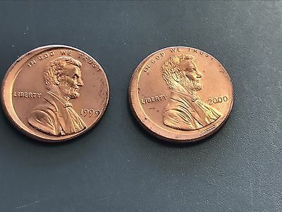 1999, 2000 LINCOLN CENT PENNY 1c MINT ERROR OFF CENTER UNC BU RED