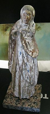 Original Antique Carved Wood Santo Great Detail In Carving