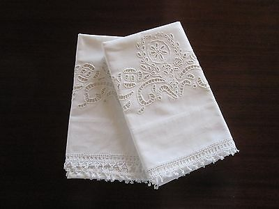 Pair (2) Antique Vintage Italian Cutwork White Linen Embroidery Pillowcases