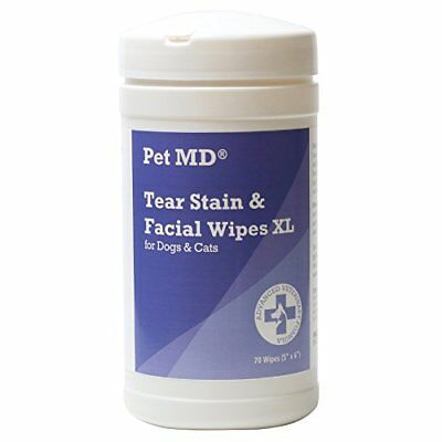 Pet MD Tear Stain Remover Facial and Eye Wipes for Dogs and Cats (70 Wipes)