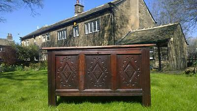 A Desirable Antique 17th Century Carved Oak Dowry Chest / Coffer