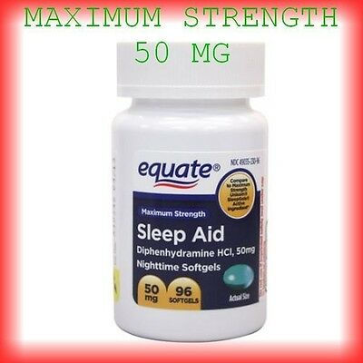 Equate Maximum strength Night time Sleep Aid 50 mg 96 ct  Diphenhydramine HCI