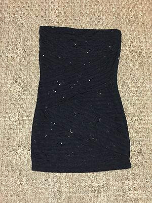 Forever 21 Black Royal Blue Sequin Fitted Dress Size Large