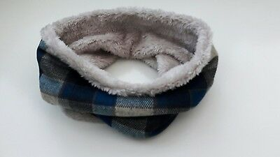 uk baby kids winter scarf snood faux fur very warm blue checked