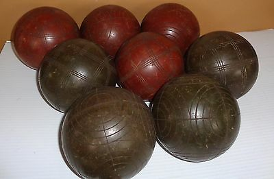 Antique Vintage Bocce Ball Yard Game Bowling Balls