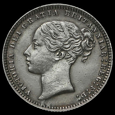 1875 Queen Victoria Young Head Silver Shilling