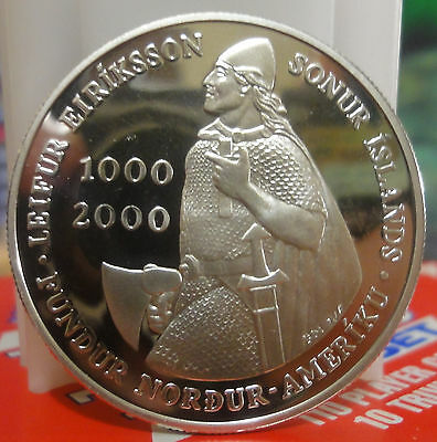 2000 Iceland-1-000-Kronun-Silver-Proof-Leif-Ericsson-Millenium-150-000-Minted.