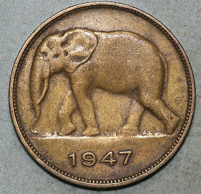 Belgian Congo 5 Francs 1947, Africian elephant NICE DETAILS ~Combined S.& H.