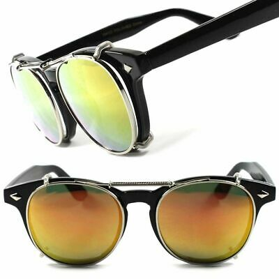 Classic Hipster Mens Womens Black Frame Clear Lens Glasses W/ Mirrored Clip Ons