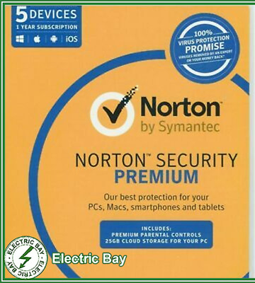 Norton Symantec Security Premium 2018 2019 2020 Antivirus 5 Users 1 Year PC MAC