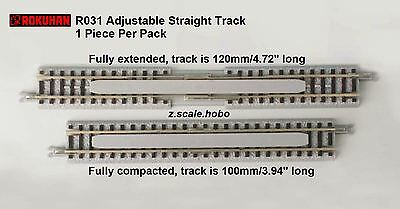 Rokuhan Z Scale R031 100-120mm Adjustable Straight Track 1-piece *NEW $0 SHIP