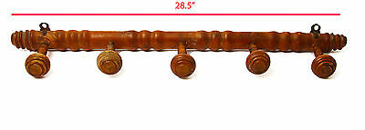 Vintage French Coat/Hat Rack Faux Bamboo Five Knobs ~ L@@K!