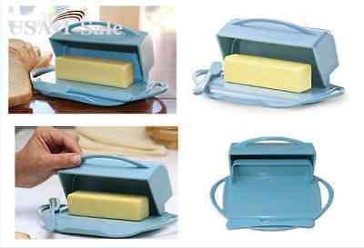 Butter Dish Flip-Top with Spreader in Blue Easy Clean Dishwasher Light Blue NEW