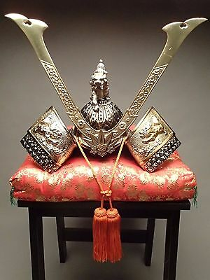 SAMURAI Warrior, Minamoto Yoshitsune, Iron KABUTO/Decoration Helmet w/Cushion
