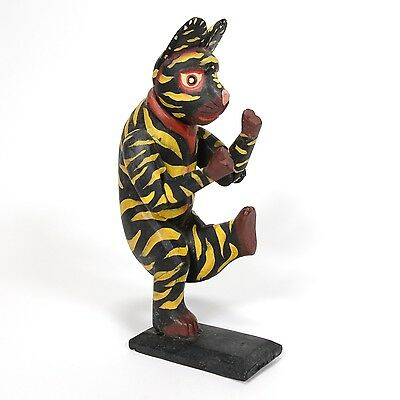 CAT DANCER Indonesia Hand-Carved Hand-Painted Wood Statue