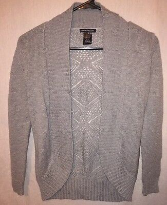 Girls Kids Blush & Bloom Gray Knit Cardigan Sweater Long Sleeve Size Medium