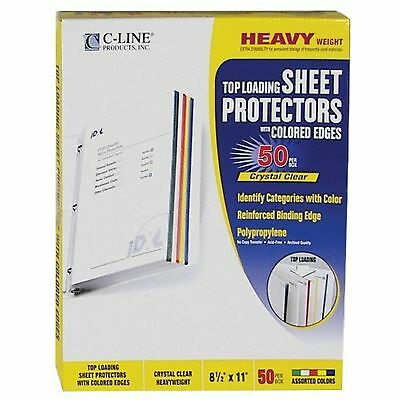 C-Line Colored Edge Sheet Protectors for 8.5 x 11 Inch Sheets Assorted Colors...