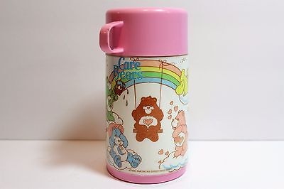 VINTAGE 1985 ALADDIN CARE BEARS Pink PLASTIC THERMOS EXCELLENT!