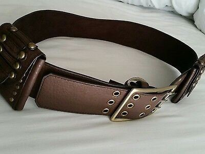 Holster Ladies Leather Wide Large Brown Belt with Removable Pockets