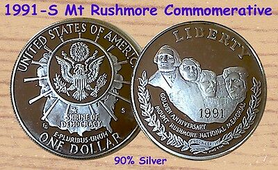 1991-S Mount Rushmore One Dollar [$1] Commemorative Proof 90% Silver Coin