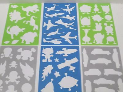 Kids party art craft school project tracing stencil PIRATE ALIEN PLANE DINOSAUR