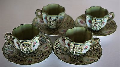 4 Sets Vintage Demitasse Cups & Saucers ~ Moriage ~ Lenwile China ~ Ardalt Japan