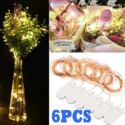 6pcs 2M 20LED Fairy String Lights Button Cell Powered Copper Wire Mini Light AU