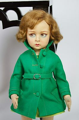 1920's Lenci Child Doll in Green Coat and Dress 110 Series