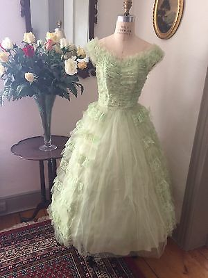 Vintage 50s Lime Green Prom Wedding Party Dress