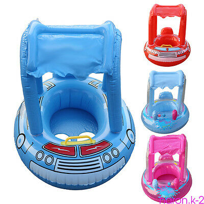 Baby Kids Inflatable Swim Boat Float Ring Tube Water Seat with Sunshade Canopy Y