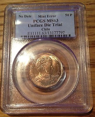 Unifaced Die Trial Error Coin Pcgs Ms63 Chile 50 Peso Km 219 Very Rare  #1373