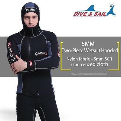 5mm Men 2-Piece Sleeveless Wetsuit Hooded Diving Suit Watersports Surf Sailing