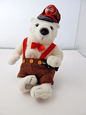 Little Coca Cola Polar Bear in suspenders with hat and bottle of coke 6.5""