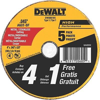 DEWALT DW8061B5 4 Inch by 0.045-Inch Metal and Stainless Cutting Wheel 5/8-In...