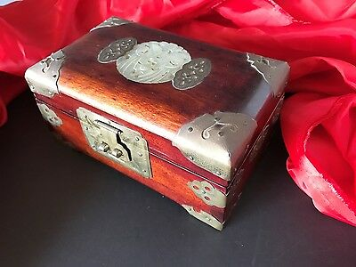 Old Chinese Redwood Jewelry Box with Lock & Key (b) …with brass fittings