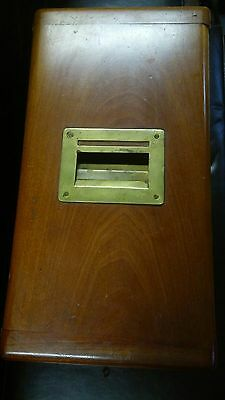 Antique wooden cash and box safe, drawers, lock and key (ESTATE FIND)