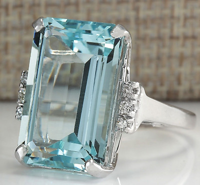 Huge 6.35ct Aquamarine 925 Silver Woman Man Jewelry Wedding Bridal Ring Size6-10
