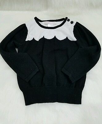 Janie & Jack Dots & Poppies 18-24 months SCALLOP SWEATER Black White Cotton $49