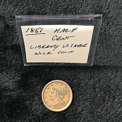 1851 Half Cent Braided Hair 1/2 Cent Liberty Visable EF++Detail Nice Coin