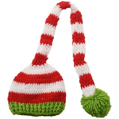 Christmas Crochet Knit Baby Photo Hat Green Red P6R5
