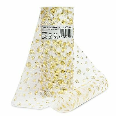 Expo International Glitter Dots 6-Inch Tulle Fabric Spool, 10-Yard, White/Gold