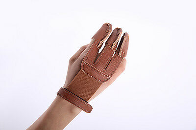 Three Full Finger Guard Protective Glove Iron Buckle Cow Leather Luxury