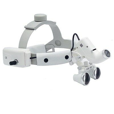 Dental Binocular Loupes Surgical Glass Magnifier + LED Headlight 3.5X 280-380mm