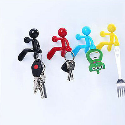 4 Colors Strong Magnetic Key Holder With Cartoon Wall Climbing Man Design SET US