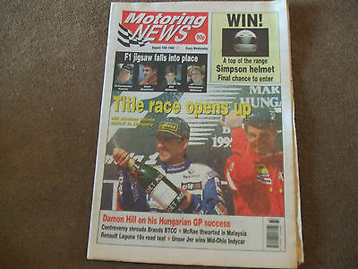 Motoring News 16 August 1995 Hungarian GP Rally of Malaysia VW Vento IndyCar