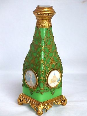 Antique French Green Grand Tour Opaline / Gilded Metal Perfume / Scent Bottle